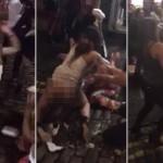 BATAIE crunta intre doua tinere in fata unei saormerii. Una este pe jumatate GOALA – VIDEO