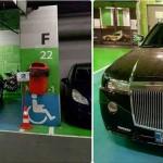 Aceasta este masina unui BUGETAR dintr-o primarie condusa de PSD. A parcat pe locurile pentru handicapati