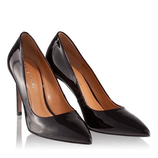 pantofi negri cu piele lacuita