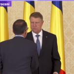Cei trei noi ministri au depus juramantul in fata lui Iohannis intr-o atmosfera glaciala. Ceremonie fara precedent, Iohannis i-a expediat rapid