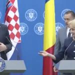 """Dancila iar a comis-o, a doua ora, cu premierul Croatiei. Premierul lui Dragnea a tinut sa arate cat de """"bine"""" vorbeste limba engleza – Video"""