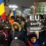 Jandarmeria a instalat dube pentru a-i impiedica pe liderii UE sa-i vada pe protestatari. Numai in statele totalitare se intampla asa ceva